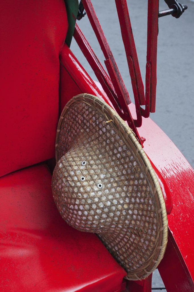 Detail of a rickshaw and porter's hat, Hong Kong, China : Stock Photo
