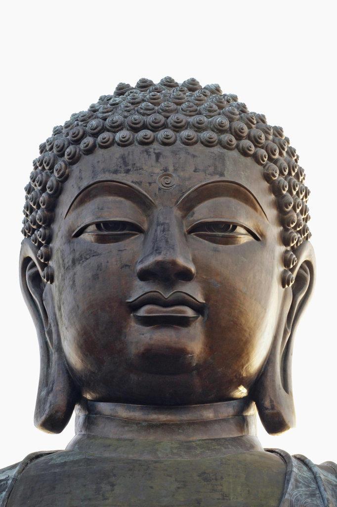 Close-up of Tian Tan Buddha, Po Lin Monastery, Ngong Ping, Lantau, Hong Kong, China : Stock Photo