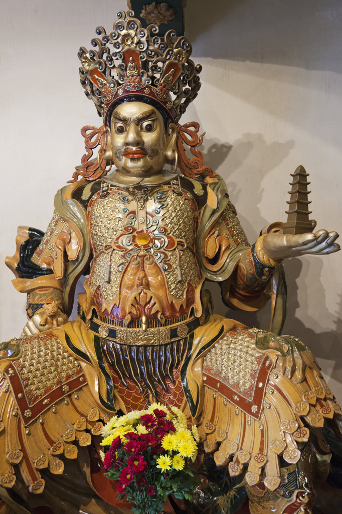 Temple Guardian statue, Po Lin Monastery, Ngong Ping, Lantau, Hong Kong, China : Stock Photo