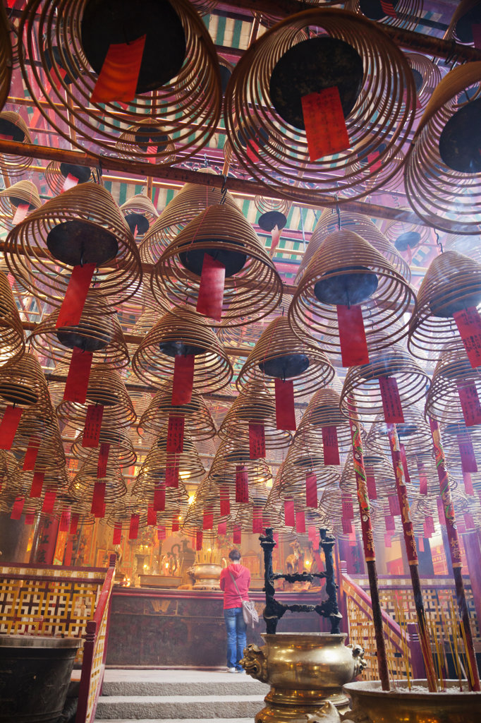 Stock Photo: 442-36760 Incense coils in a temple, Man Mo Temple, Hollywood Road, Hong Kong, China