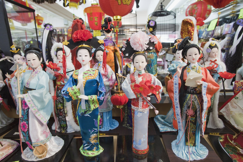 Stock Photo: 442-36772 Display of Dolls in Ethnic Chinese Costume, Stanley Market, Stanley, Hong Kong, China