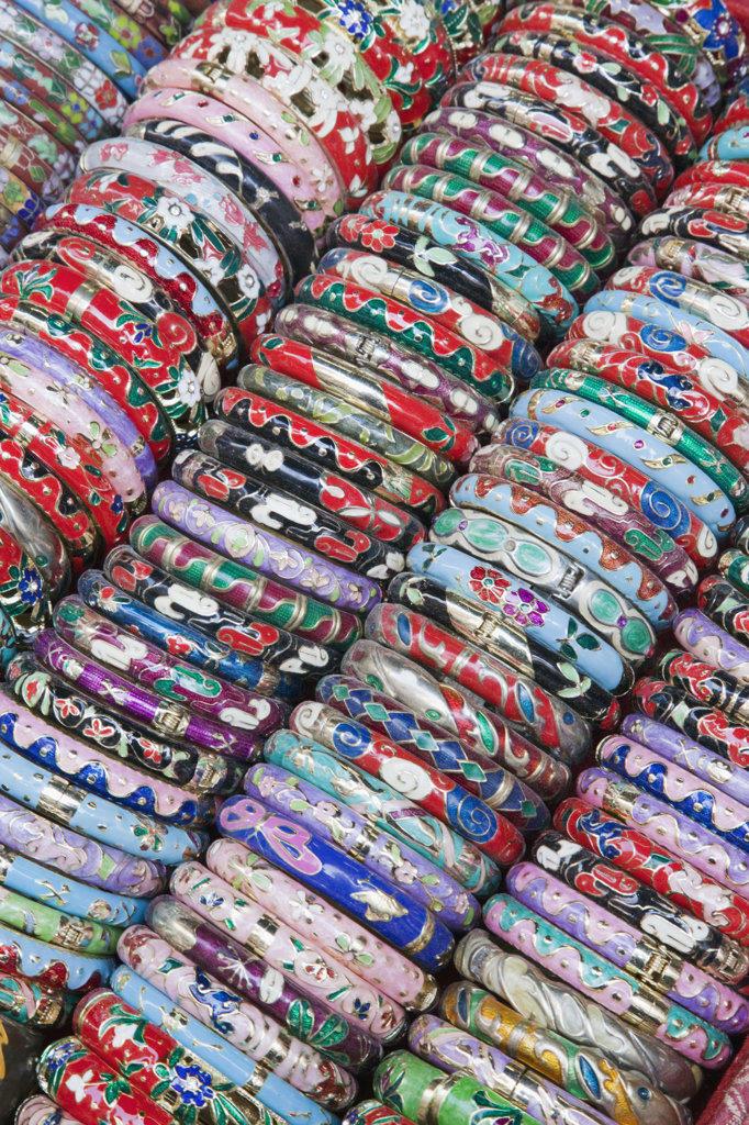Stock Photo: 442-36779 Display of bangles, Stanley Market, Stanley, Hong Kong, China