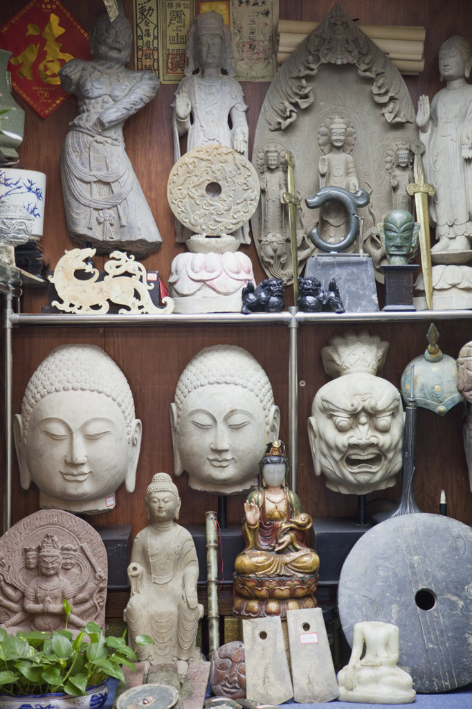 Stock Photo: 442-36788 Artifacts on display at an antique store, Cat Street, Hollywood Road, Hong Kong, China