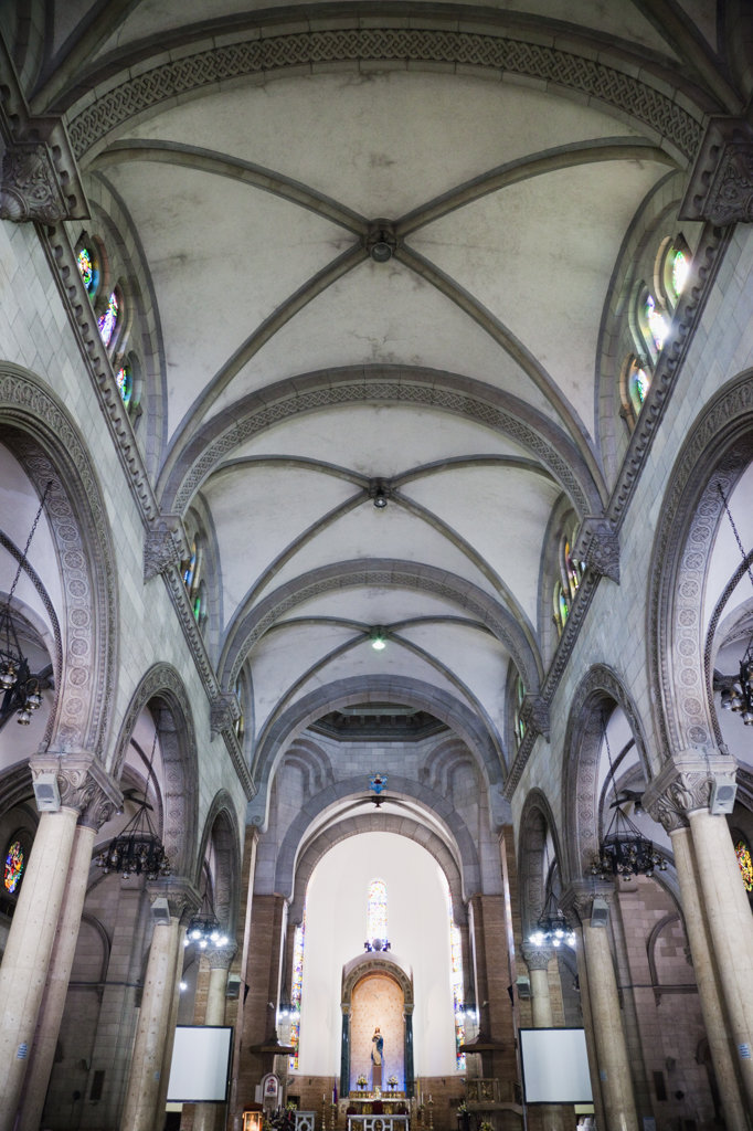Interiors of a cathedral, Manila Cathedral, Intramuros, Manila, Philippines : Stock Photo