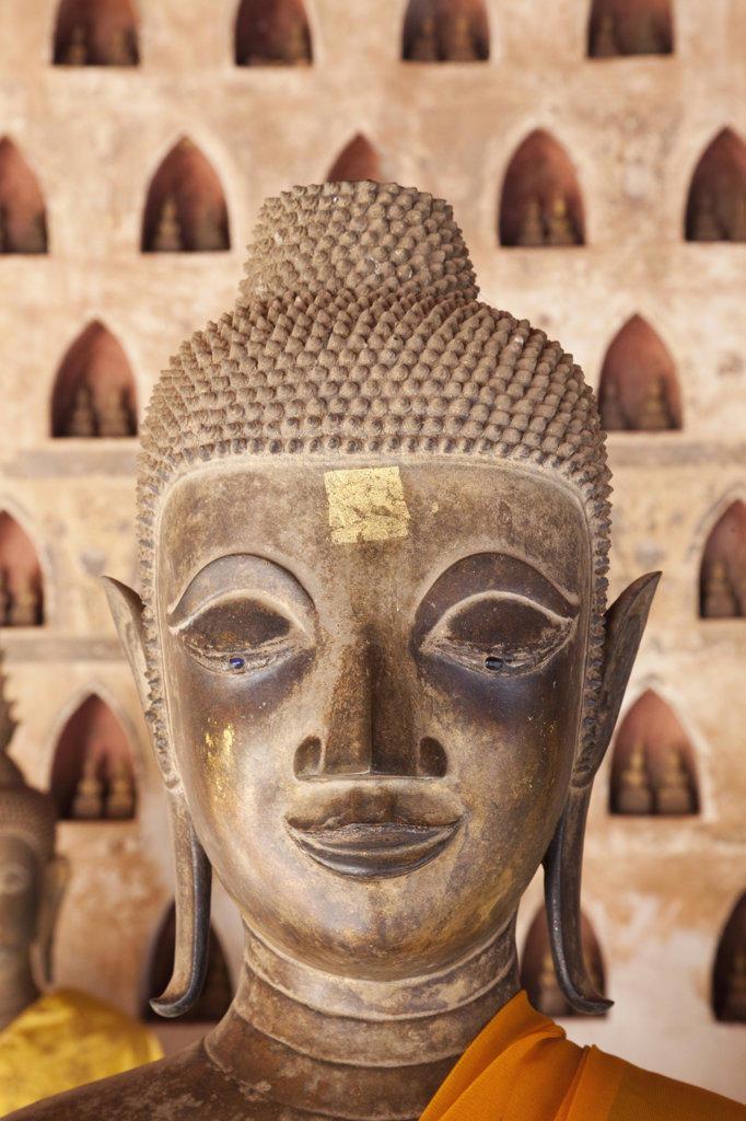 Buddha statue in a temple, Wat Si Saket, Vientiane, Laos : Stock Photo