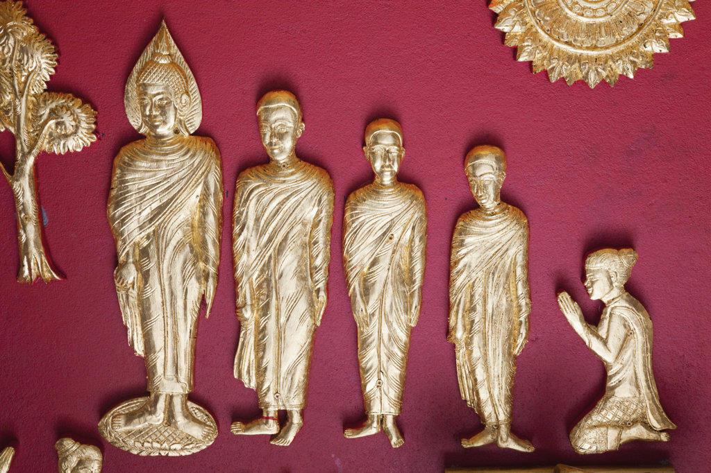 Stock Photo: 442-36960 Interior wall decoration depicting the life of Buddha, Wat Haw Pha Bang, Royal Palace Museum, Luang Phabang, Laos