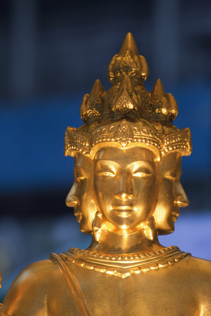 Stock Photo: 442-37051 Statue of Hindu God Brahma (Phra Phrom in Thai) in a temple, Erawan Shrine, Bangkok, Thailand