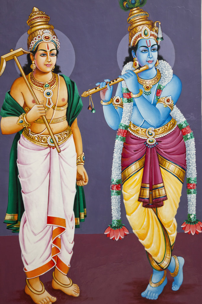 Stock Photo: 442-37237 Painting of Hindu deities Krishna and Balram in a temple, Sri Mariamman Temple, Singapore