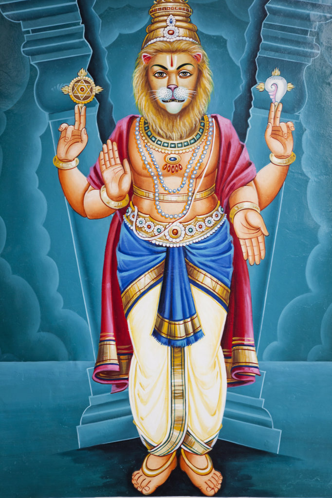 Stock Photo: 442-37238 Painting of Hindu deities Lord Vishnu in Narasingh avatar (half-man/half-lion incarnation), Sri Mariamman Temple, Singapore