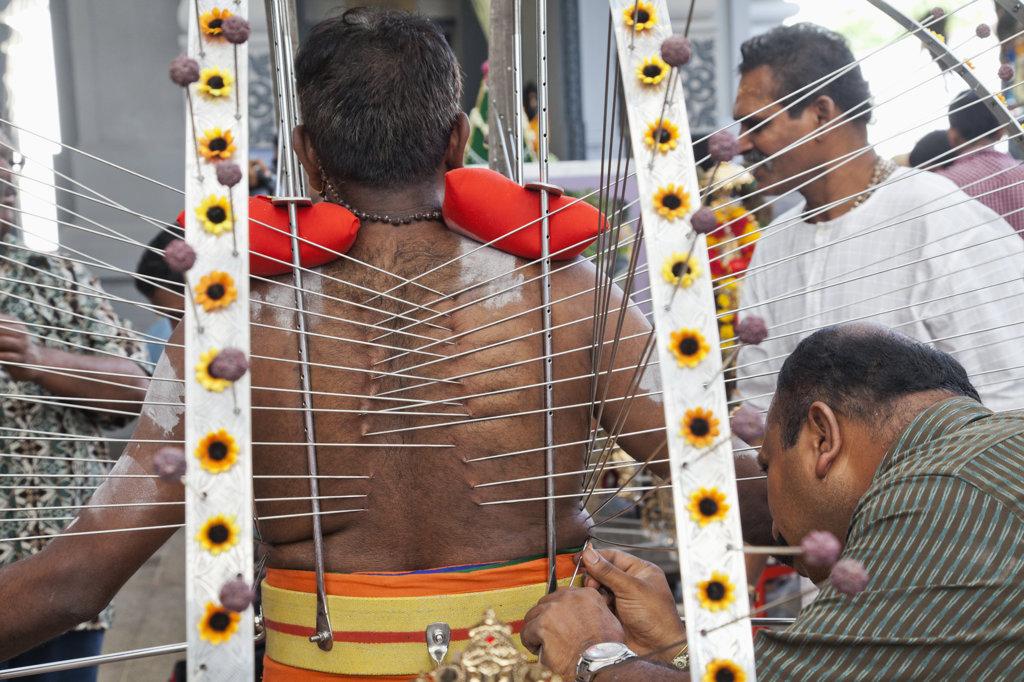 Stock Photo: 442-37269 Devotee with pierced body in a religious procession at Thaipusam Festival, Sri Srinivasa Perumal Temple, Little India, Singapore