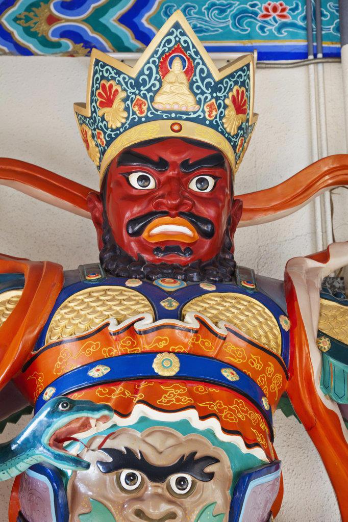 Temple Guardian God statue, Western Monastery, Tsuen Wan, Hong Kong, China : Stock Photo