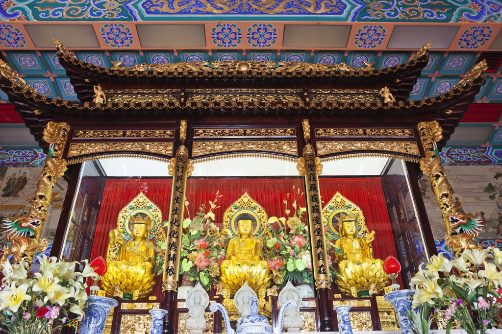 Stock Photo: 442-37301 Buddha statues in a monastery, Western Monastery, Tsuen Wan, Hong Kong, China
