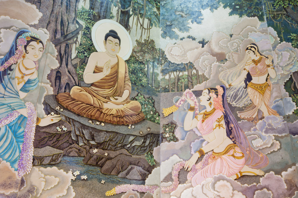 Wall mural depicting the life of Buddha, Western Monastery, Tsuen Wan, Hong Kong, China : Stock Photo