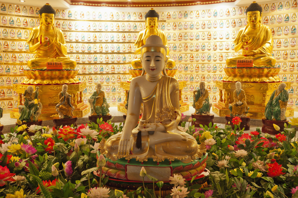 Stock Photo: 442-37315 Buddha statues in a monastery, Western Monastery, Tsuen Wan, Hong Kong, China