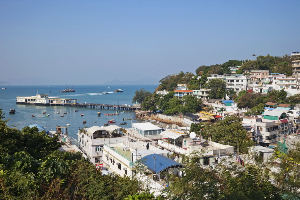 Stock Photo: 442-37346 High angle view of a town, Yung Shue Wan, Lamma Island, Hong Kong, China