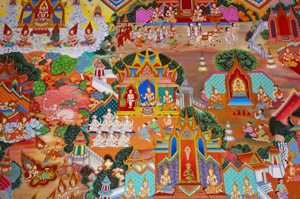 Stock Photo: 442-37387 Thailand,Trat Province,Koh Chang,Salak Phet Bay,Wat Salak Phet,Interior Wall Decoration