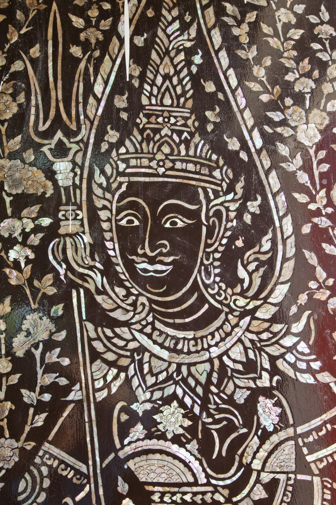 Stock Photo: 442-37391 Thailand,Trat Province,Koh Chang,Salak Phet Bay,Wat Salak Phet,Mother of Pearl Inlay Door Decoration