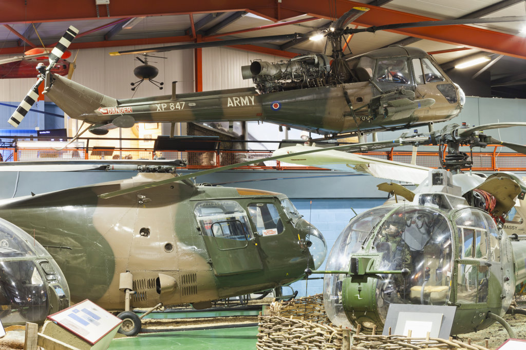 Stock Photo: 442-37740 UK, England, Hampshire, Andover, The Museum of Army Flying, Helicopters