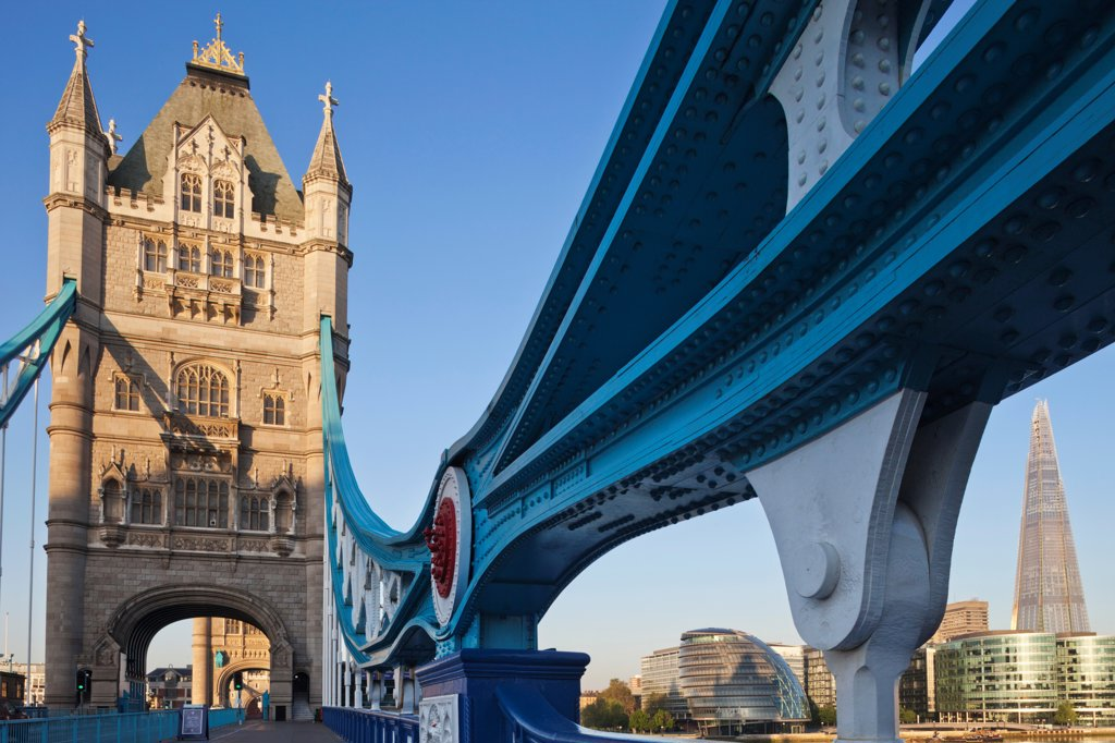 Stock Photo: 442-37876 UK, England, London, Southwark, Tower Bridge and The Shard