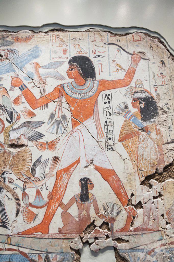 UK, England, London, British Museum, Egyptian Room, Tomb Chapel of Nebamun, Painting of Nebamun Hunting in Marshes : Stock Photo