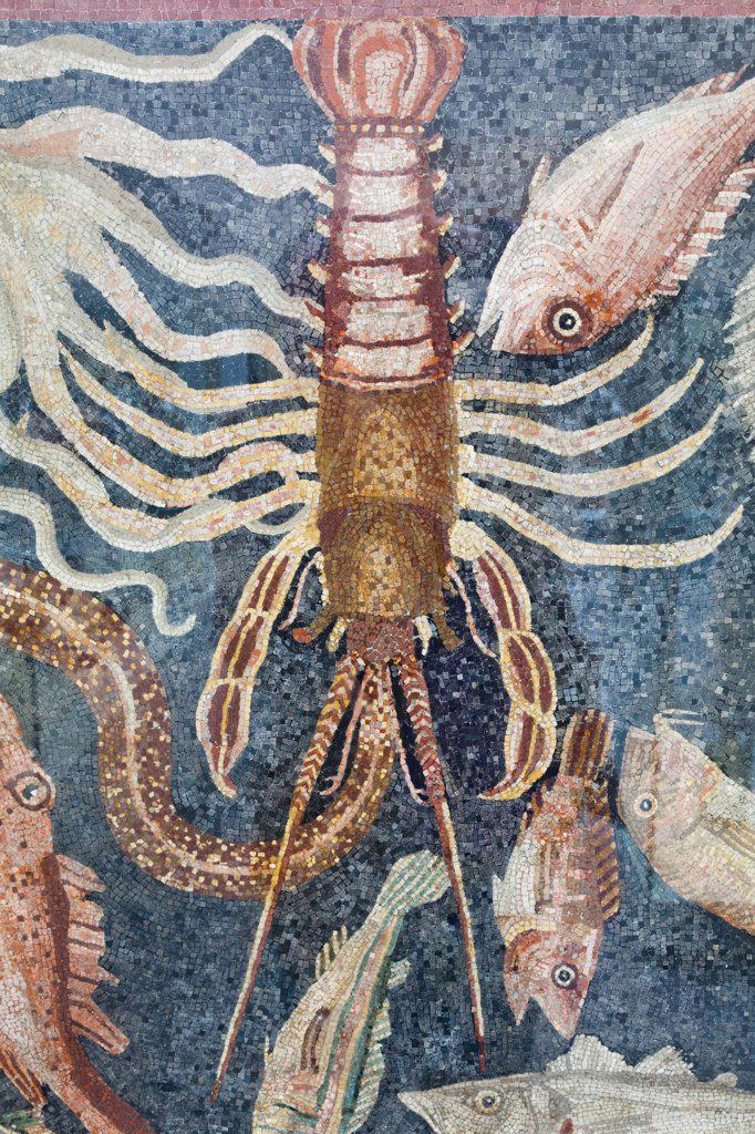 Stock Photo: 442-37919 UK, England, London, British Museum, Mosaic from Roman Villa at Plazza Armerina in Sicily depicting Seafood