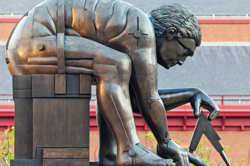 UK, England, London, Kings Cross, British Library, Issac Newton Statue : Stock Photo