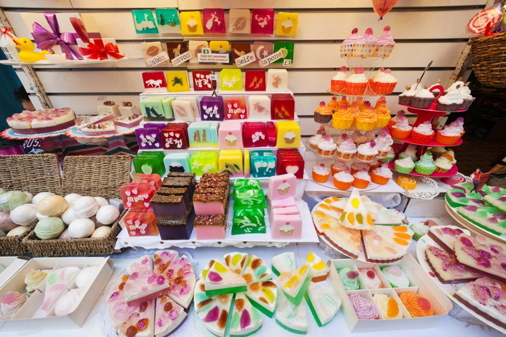 Stock Photo: 442-37960 UK, England, London, Camden, Camden Lock Market, Soap Store, Display of Novelty Soaps