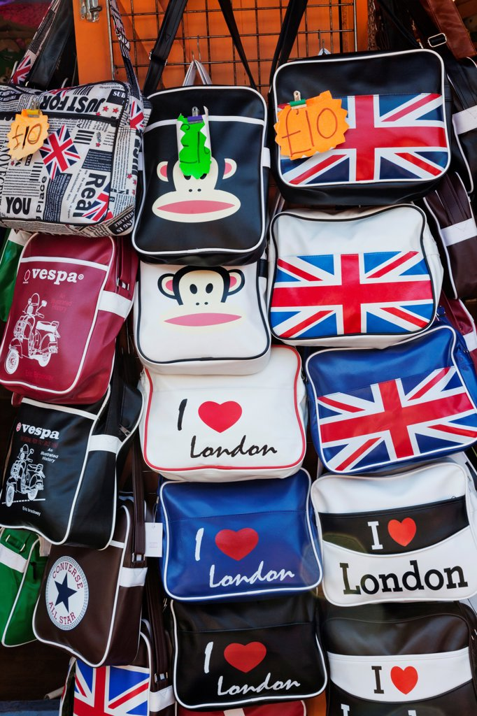 UK, England, London, Camden, Camden Lock Market, Souvenir Bags : Stock Photo