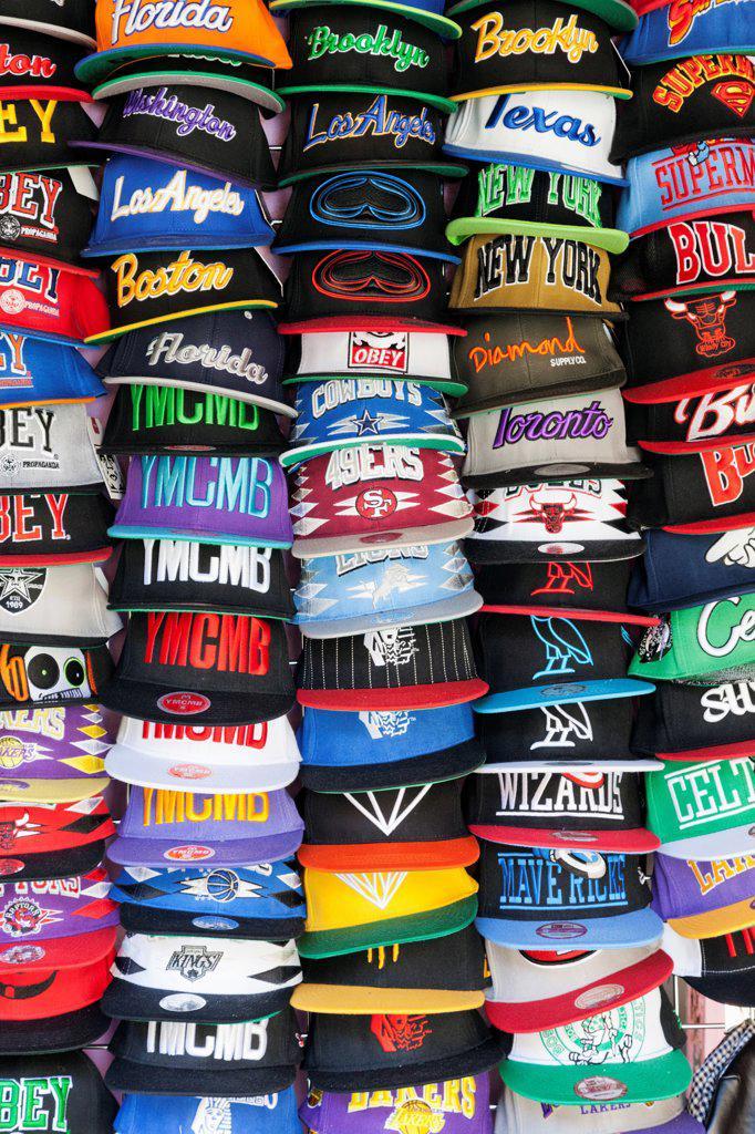 UK, England, London, Camden, Camden Lock Market, Baseball Caps : Stock Photo