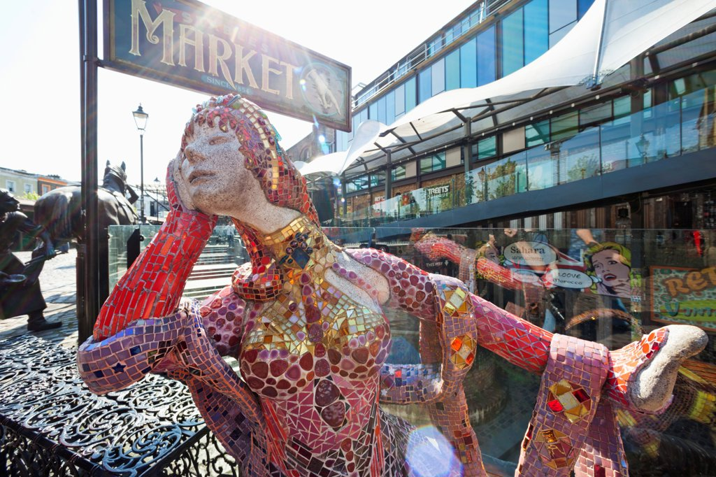 UK, England, London, Camden, Camden Lock Market, Retro Fashion Sculpture : Stock Photo