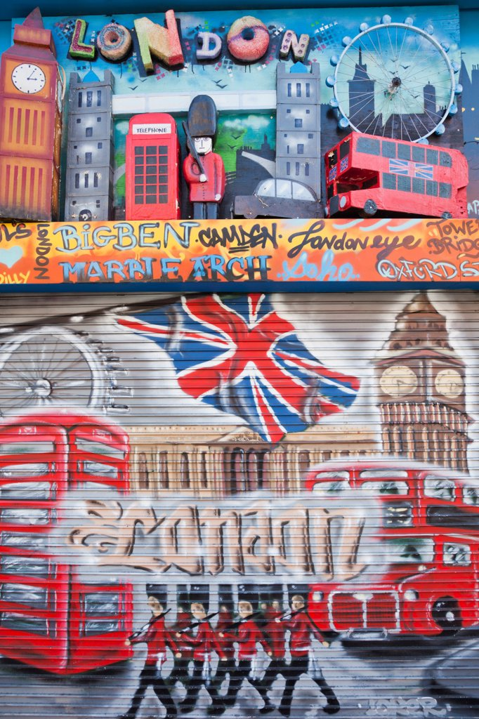 Stock Photo: 442-37974 UK, England, London, Camden, Camden High Street, Shop Window Shutter with Graffiti
