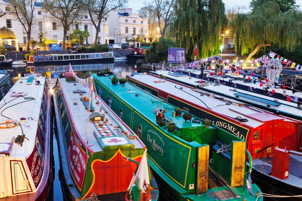England, London, Little Venice, Canal Boats : Stock Photo