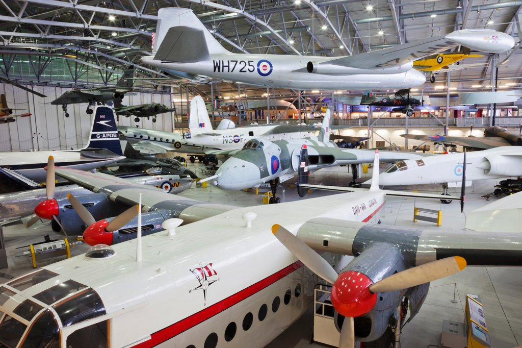 Stock Photo: 442-38017 England, Cambridgeshire, Duxford, Imperial War Museum, Exhibit of Vintage Aircraft in AirSpace Hangar