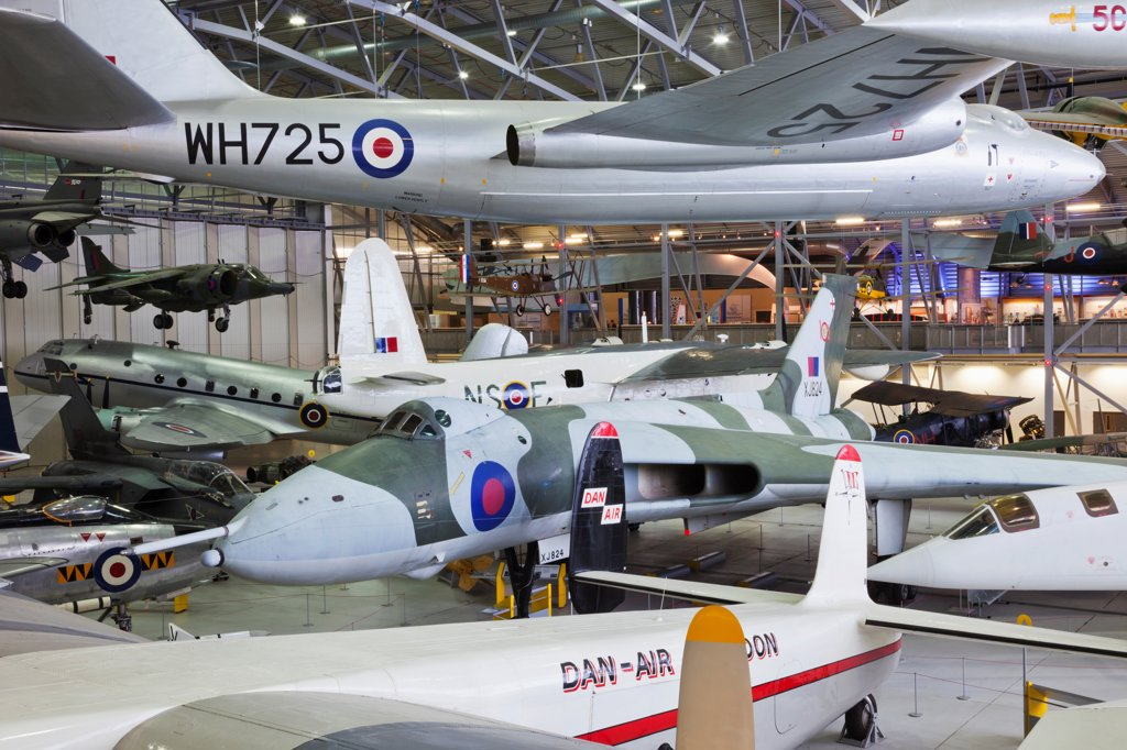 Stock Photo: 442-38018 England, Cambridgeshire, Duxford, Imperial War Museum, Exhibit of Vintage Aircraft in AirSpace Hangar