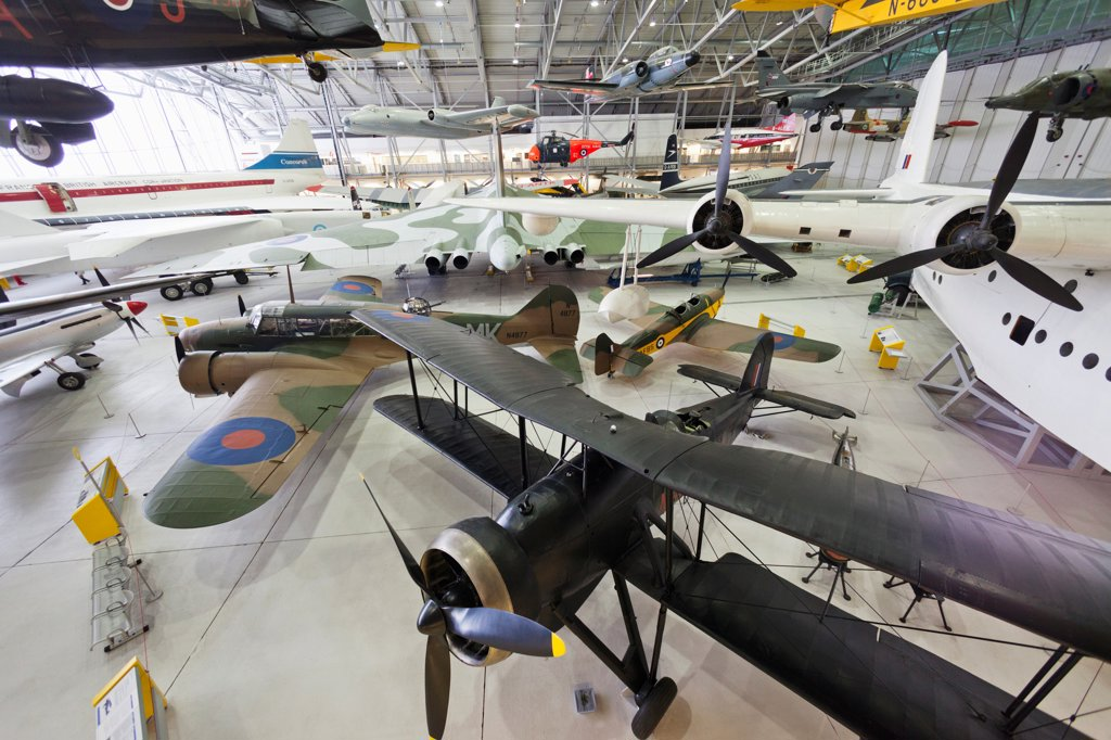 Stock Photo: 442-38019 England, Cambridgeshire, Duxford, Imperial War Museum, Exhibit of Vintage Aircraft in AirSpace Hangar