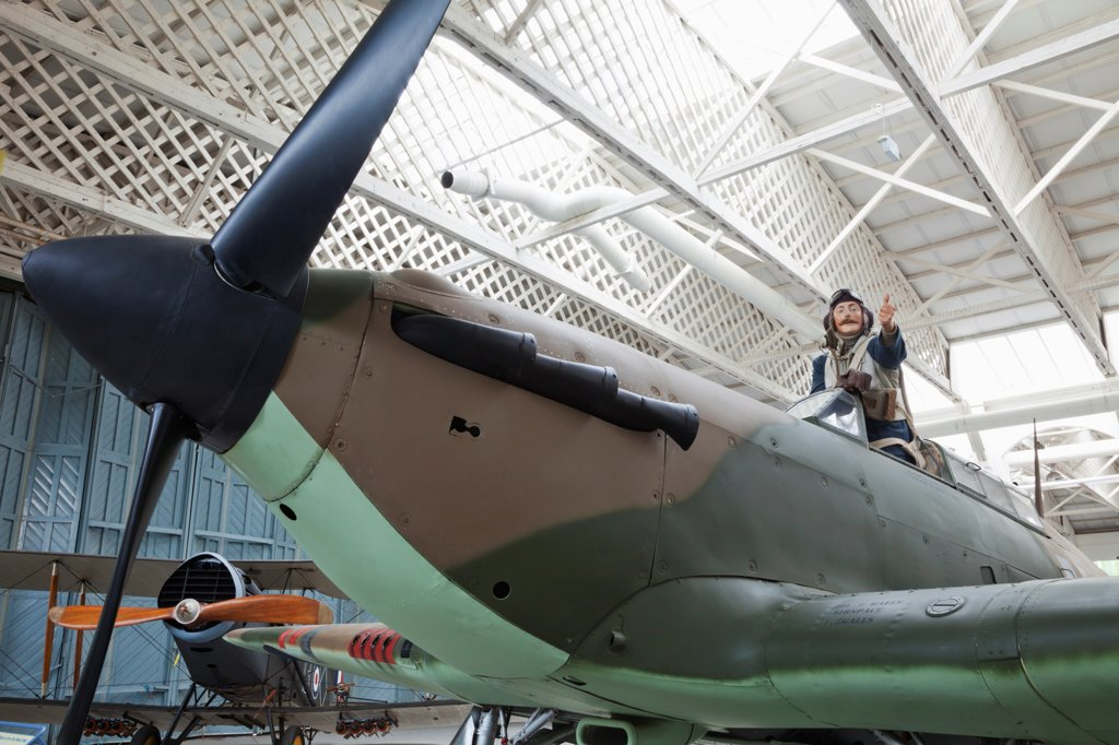 Stock Photo: 442-38022 England, Cambridgeshire, Duxford, Imperial War Museum, Battle of Britain Hangar, Hawker Hurricane Mk IIB, Vintage WWII Fighter Plane