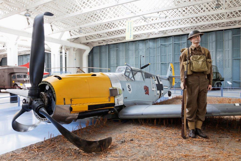 Stock Photo: 442-38023 England, Cambridgeshire, Duxford, Imperial War Museum, Exhibit of Captured German Messerschmitt WWII Fighter Plane