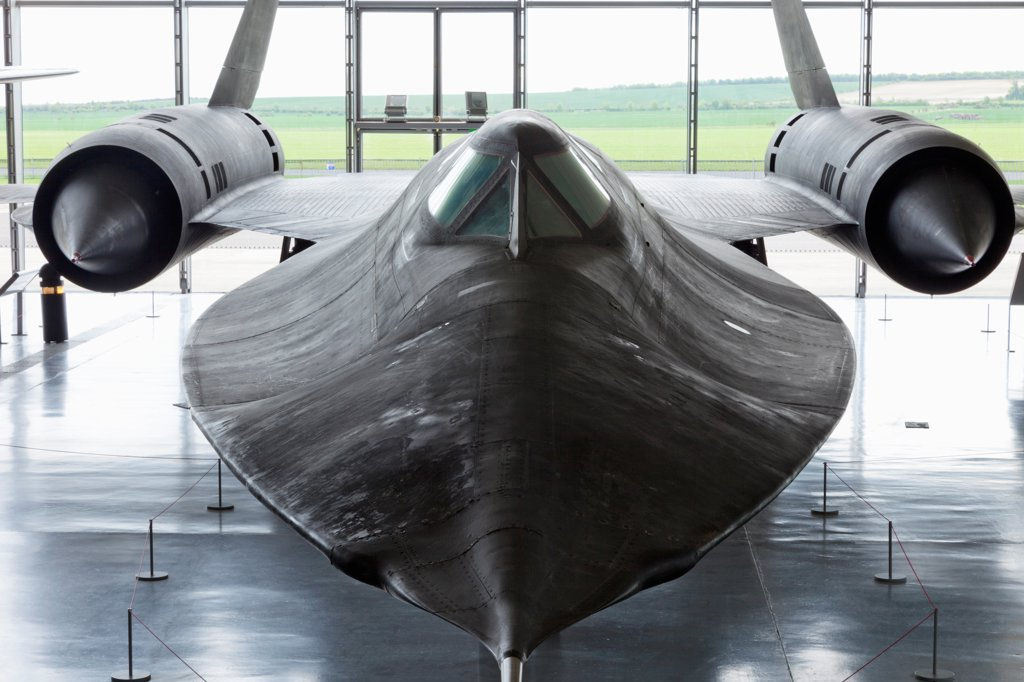 Stock Photo: 442-38026 England, Cambridgeshire, Duxford, Imperial War Museum, American Air Museum Hangar, Exhibit, Lockheed SR-71A Blackbird Reconnaissance Aircraft