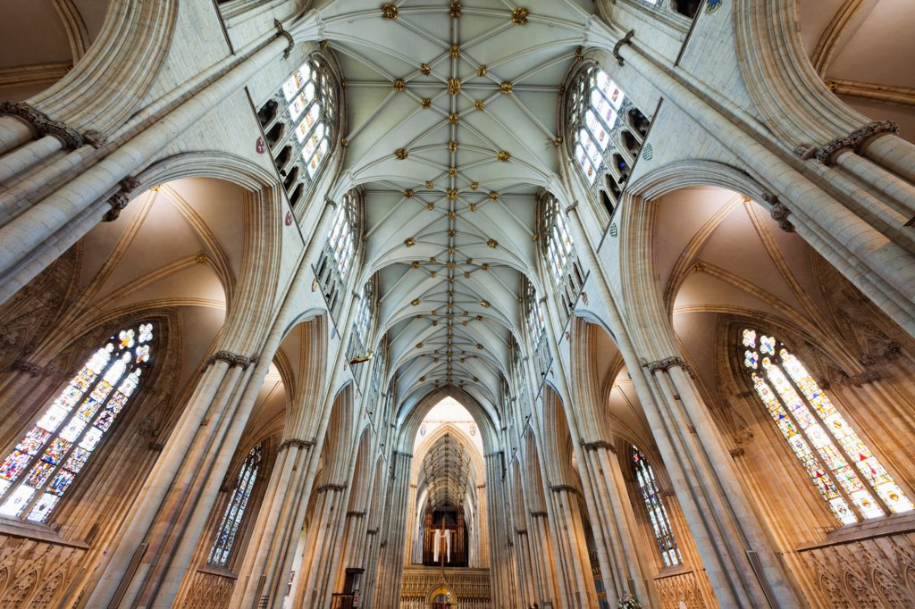 England, Yorkshire, York, York Minster, Nave : Stock Photo