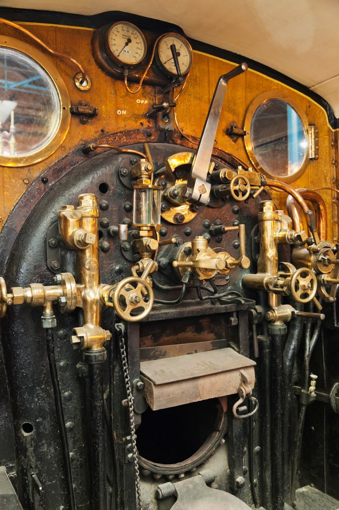Stock Photo: 442-38044 England, Yorkshire, York, The National Railway Museum, Typical Steam Locomotive Driver's Cab