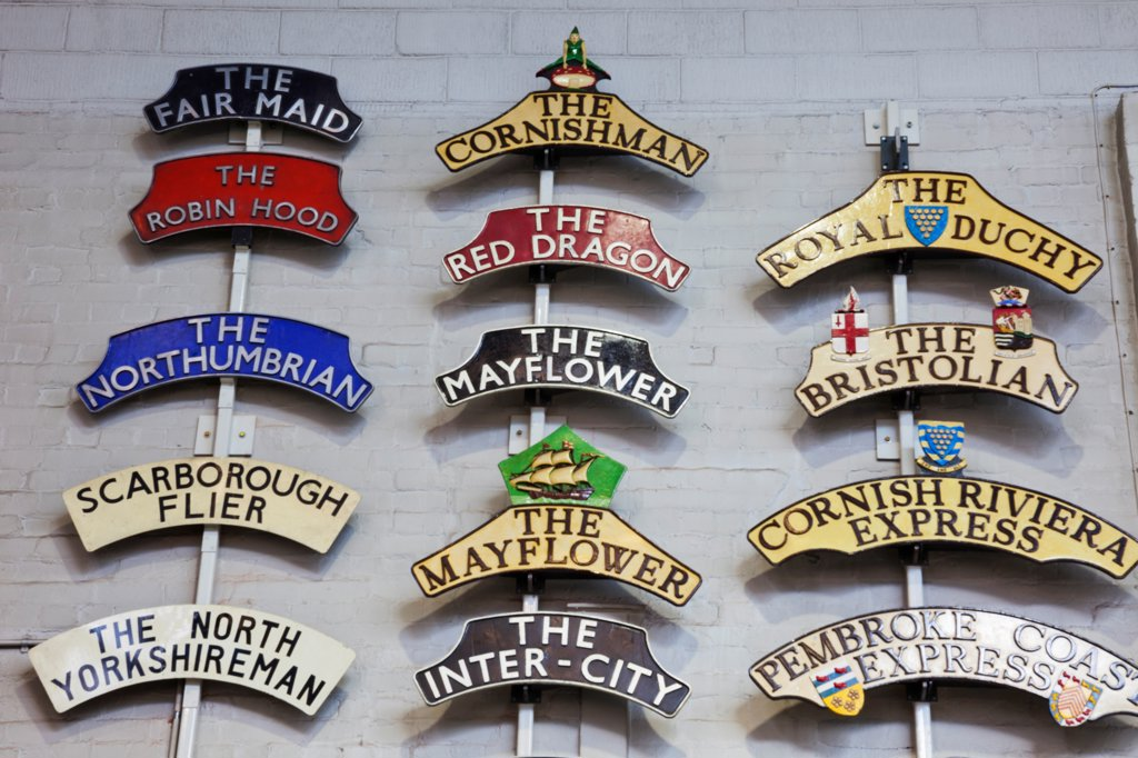 England, Yorkshire, York, The National Railway Museum, Historical Train Name Plates : Stock Photo