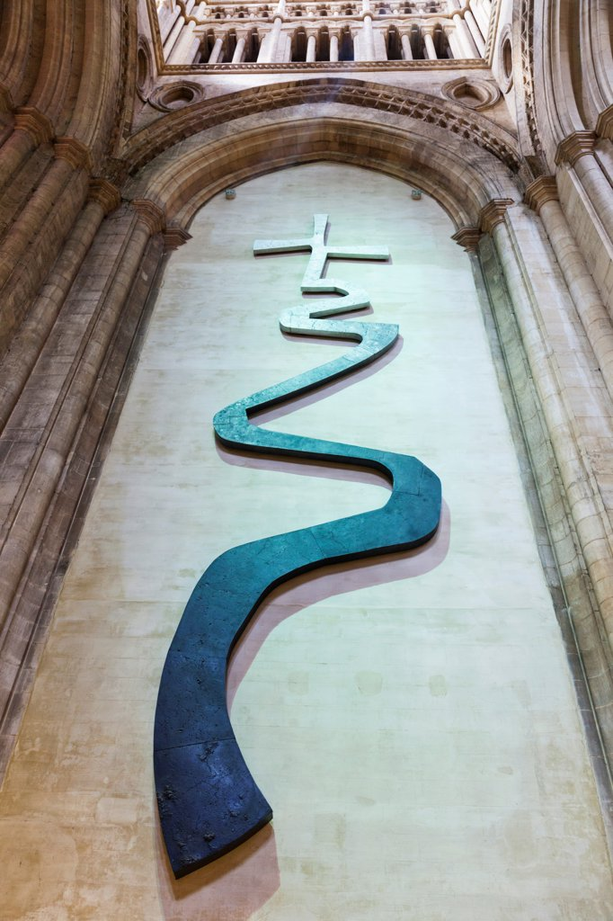 "Stock Photo: 442-38063 England, Cambridgeshire, Ely, Ely Cathedral, """"The Way of Life Sculpture"""" by Jonathan Clarke"