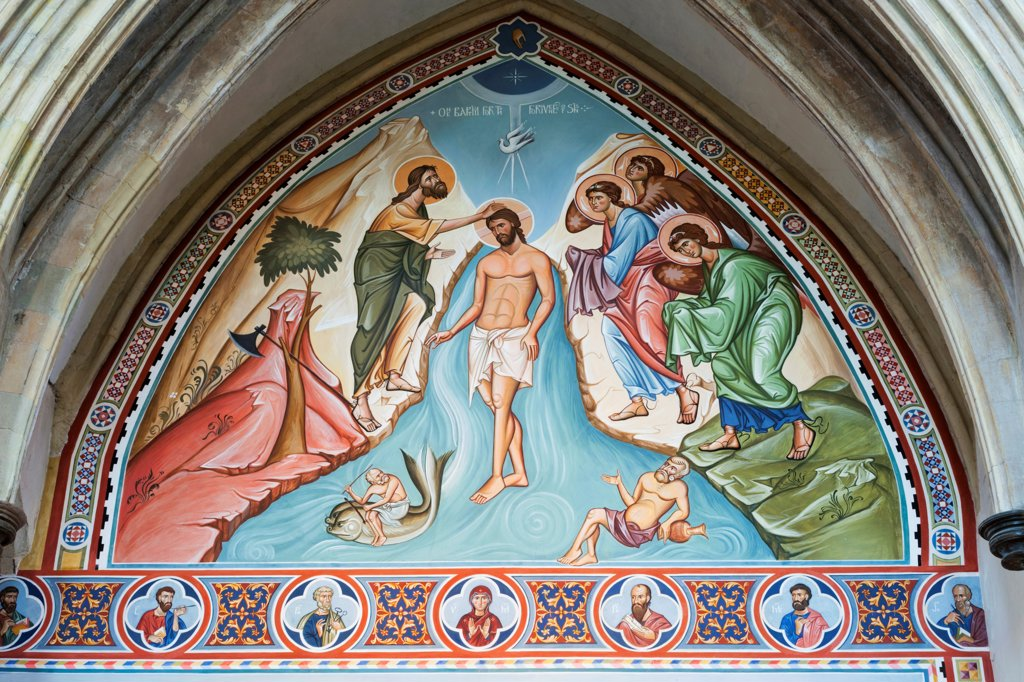 Stock Photo: 442-38079 England, Kent, Rochester, Rochester Cathedral, Baptism of Fresco Painted by Sergei Fyodorov