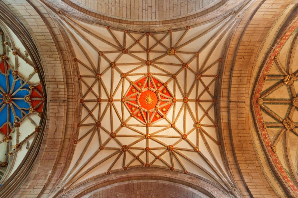 Stock Photo: 442-38084 England, Gloucestershire, Tewkesbury, Tewkesbury Abbey, Ceiling