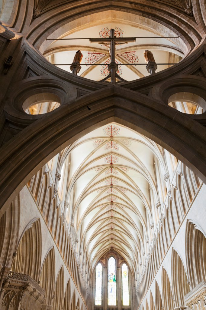 England, Somerset, Wells, Wells Cathedral, The Scissor Arches : Stock Photo