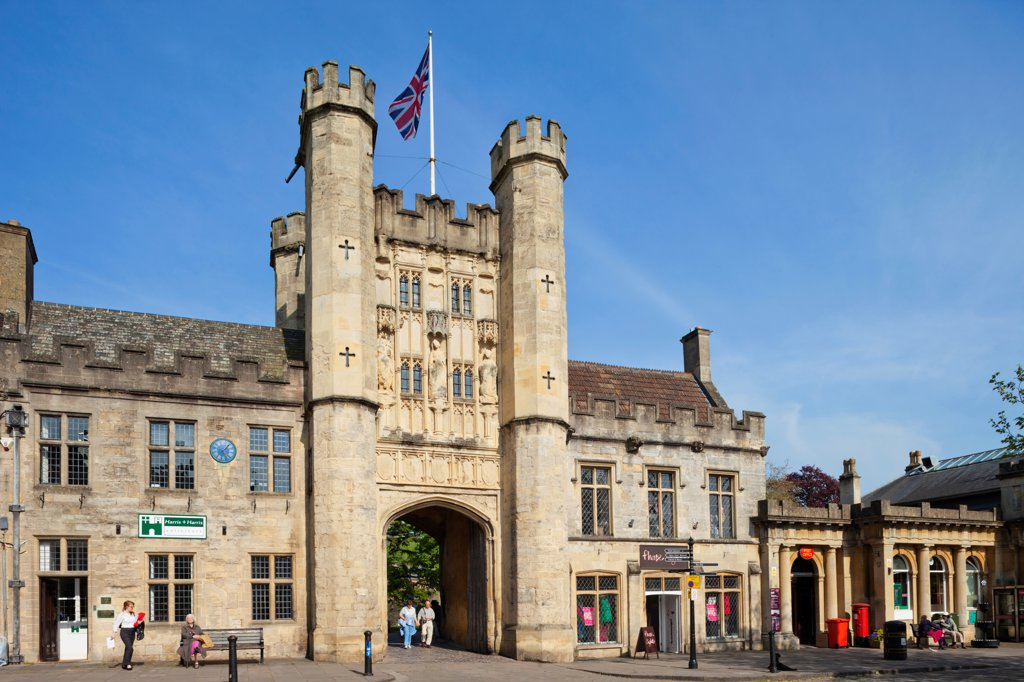 Stock Photo: 442-38121 England, Somerset, Wells, Entrance to The Bishop's Palace