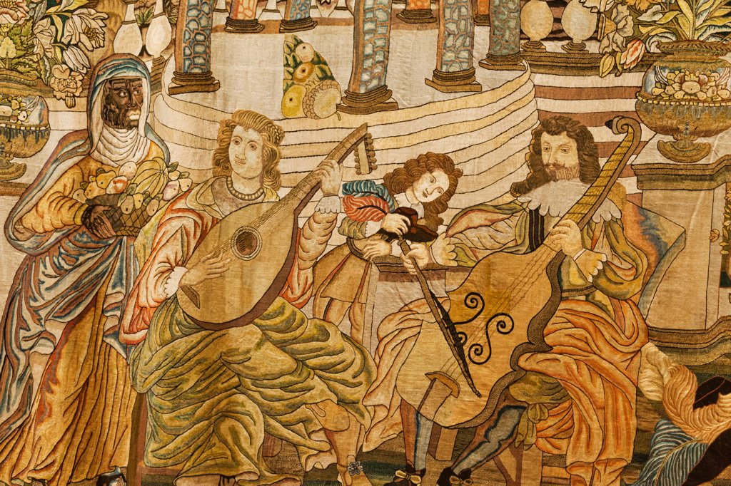 Stock Photo: 442-38154 England, Oxfordshire, Oxford, Ashmolean Museum, Spanish Embroidery (1650) depicting Court Musicians