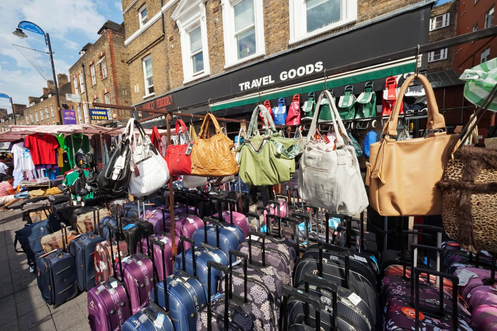 Stock Photo: 442-38206 UK, London, Whitechapel, Petticoat Lane Market, Purses on display
