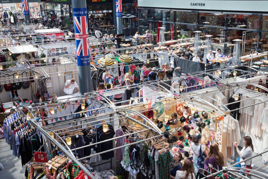 Stock Photo: 442-38208 UK, London, Whitechapel, Spitalfields Market, Market booths