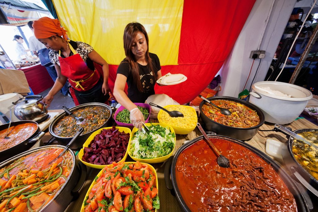 Stock Photo: 442-38209 UK, London, Whitechapel, Spitalfields Market, Stall with Ethiopian Food
